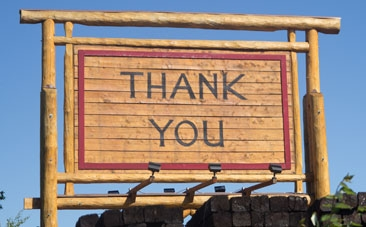 Thank you wood sign at Northland Wood